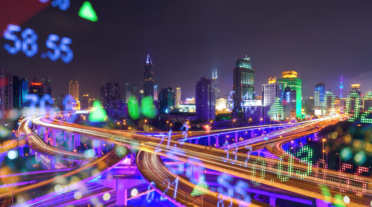 iStock image: Display stock numbers and shanghai skyline background