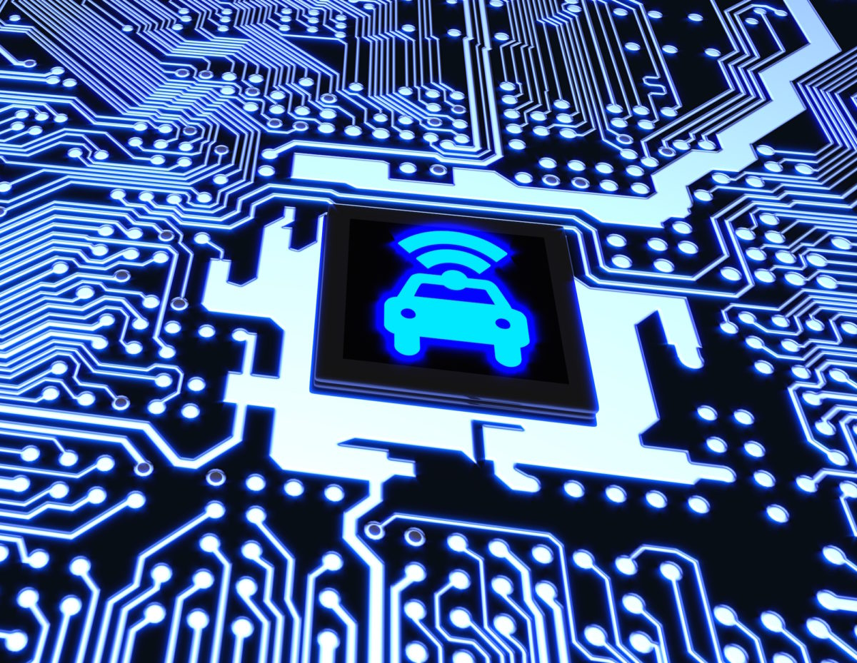 Blue circuit board closeup connected to a cpu with a glowing car wifi symbol on top smart vehicle concept 3D illustration (via iStock)