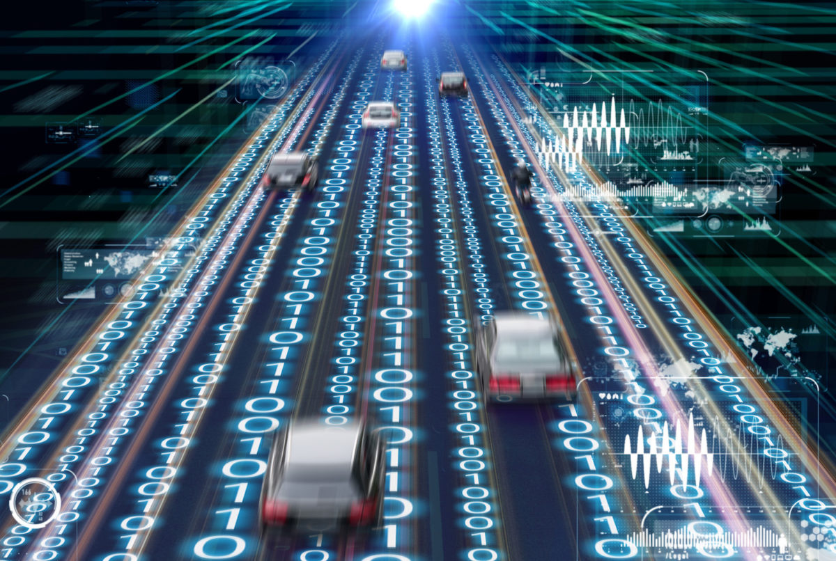 Connected car traffic management concept (via iStock)