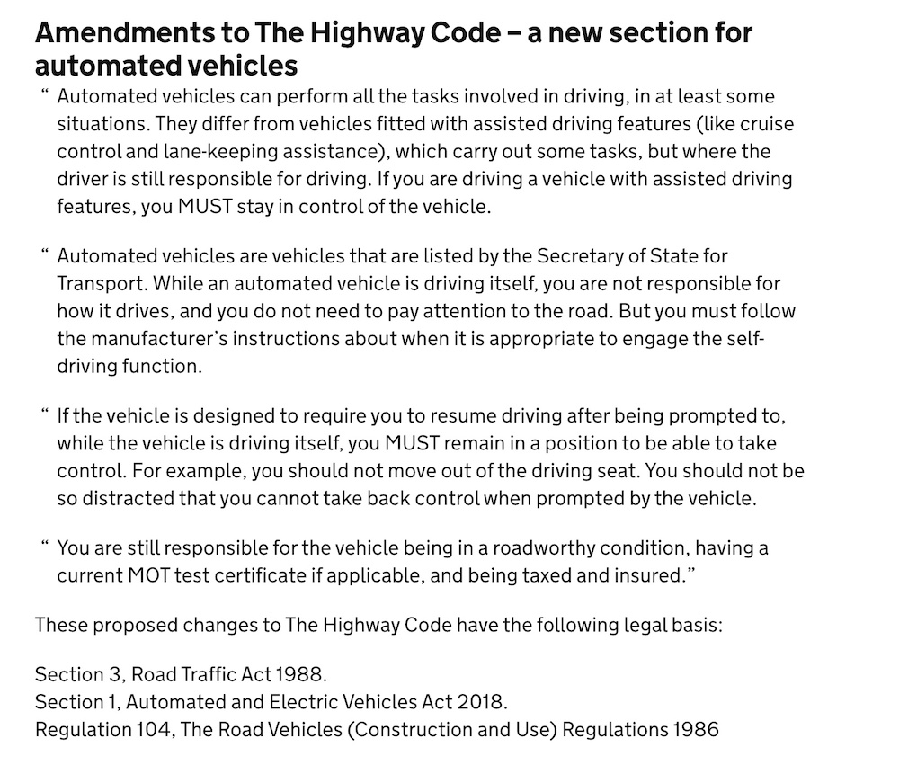 Proposed amendments to the Highway Code re AVs 2021