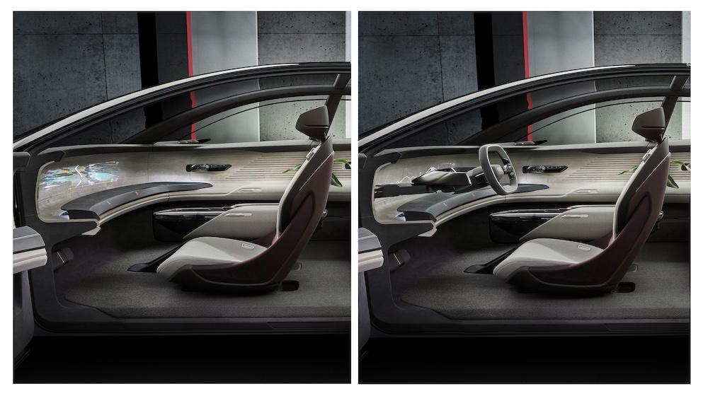 Audi Grandsphere concept car fold away steering wheel